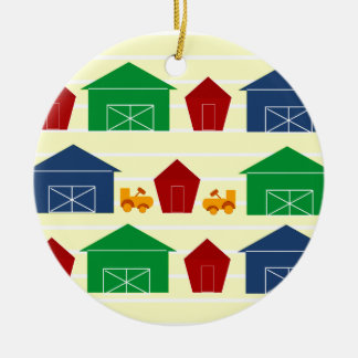 Country Barns on Stripes Christmas Ornament