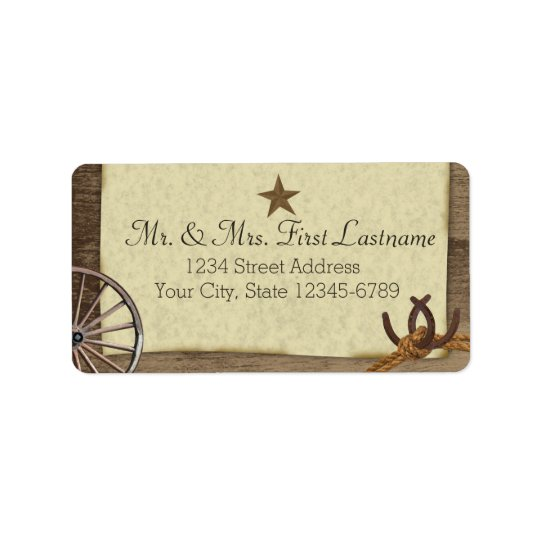 Country Barnwood Western Antiques Address Label