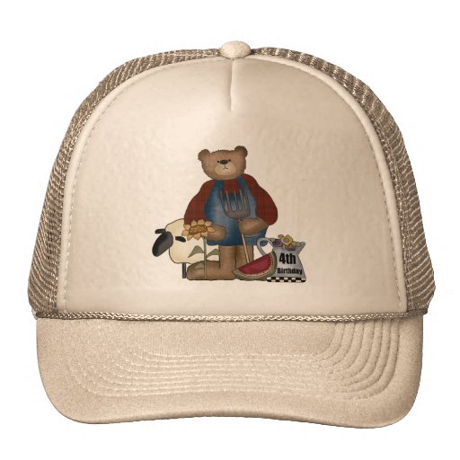 Country Bear 4th Birthday Gifts Mesh Hats