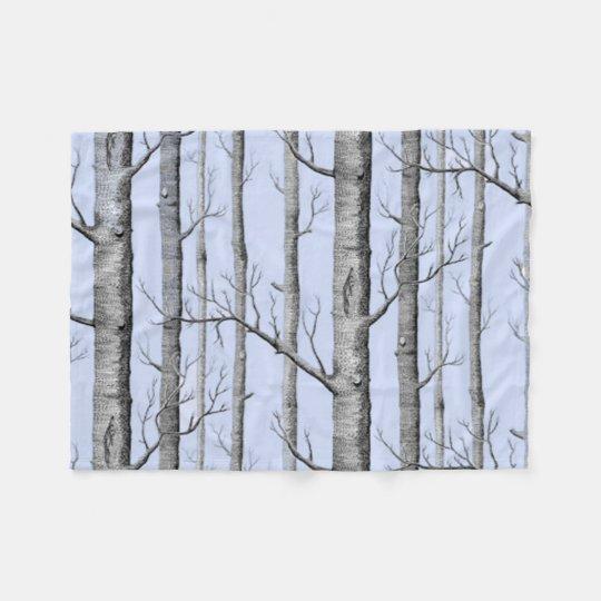 Country, Beautiful Aspen Trees on Blue Fleece Blanket