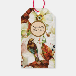 Country bird garden vintage flowers gift tags