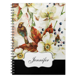 Country bird garden vintage flowers notebook
