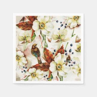 Country bird garden vintage flowers paper napkins