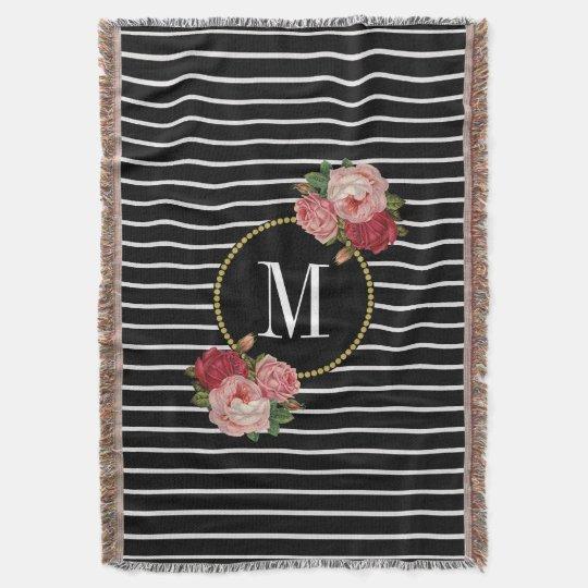 Country Black Striped Boho Vintage Floral Monogram Throw Blanket