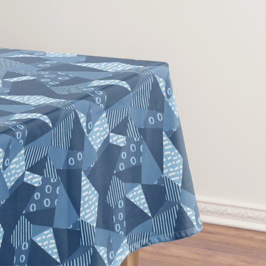 Country blue crazy patchwork geometric shapes tablecloth