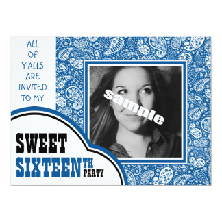 Country Blue Paisley Girl Photo Sweet 16th Party Card