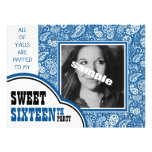 Country Blue Paisley Girl Photo Sweet 16th Party Personalised Announcements