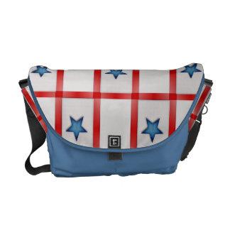 Country Blue Star Patriotic Checks Messenger Bag
