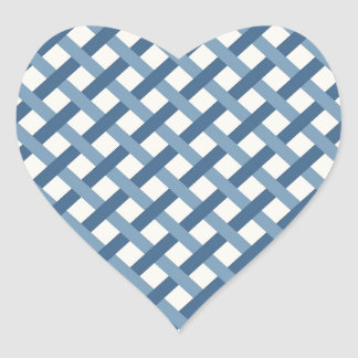 Country Blues Weave Heart Sticker