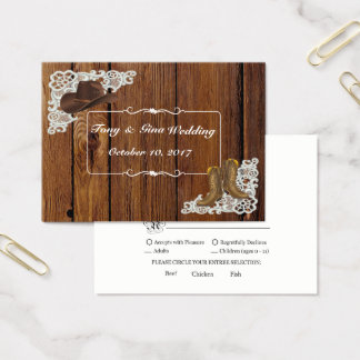 Country Boots & Lace Wedding RSVP Card