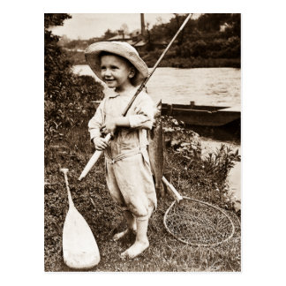 Country Boy Vintage Stereoview Fishing Postcard