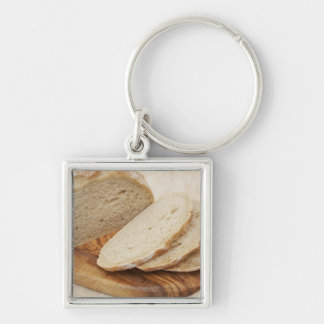 Country Bread (Pain de Campagne) on a chopping Silver-Colored Square Key Ring