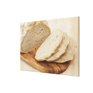 Country Bread (Pain de Campagne) on a chopping Stretched Canvas Prints