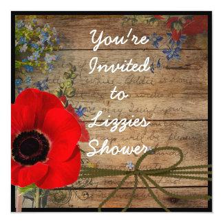 Country Bridal Shower Poppy FLOWER Invitation