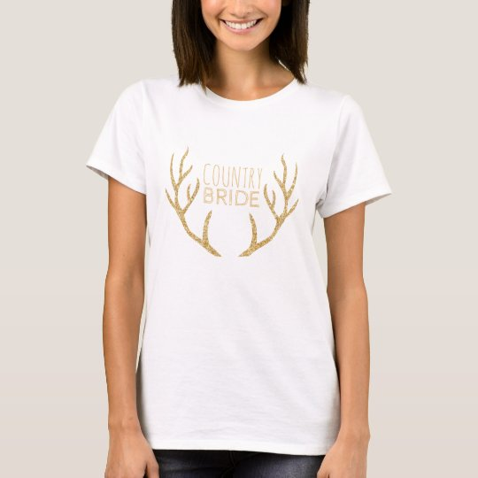 Country Bride Rustic Wedding Gold Deer Antlers T-Shirt