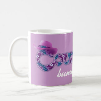 """Country bumpkin"" denim blue pink mug"
