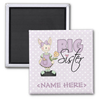 Country Bunny Big Sister (violet) Square Magnet