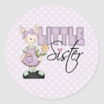 Country Bunny Little Sister (violet) Round Sticker