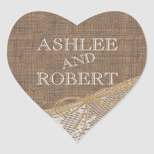 Country Burlap and Twine Heart Sticker