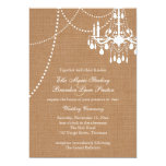 Country Burlap Chandelier Wedding Invitation