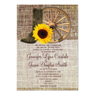 Country Burlap Cowboy Boots Sunflower Wedding 5x7 Paper Invitation Card