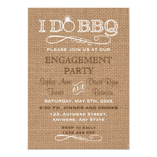 Country Burlap I DO BBQ Engagement Party Inviten