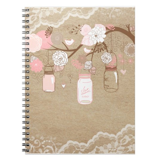 Country Burlap & Lace Mason Jar Tree Notebook