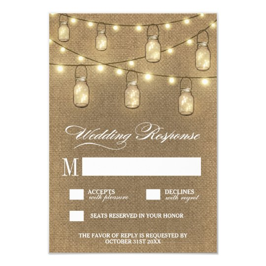 Country Burlap Mason Jar Wedding RSVP Cards