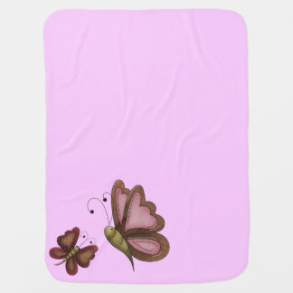 Country Butterfly Pink Girls Baby Blanket