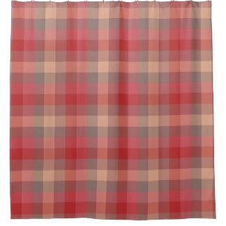 Country Cabin Rose Red Plaid Pattern Shower Curtain