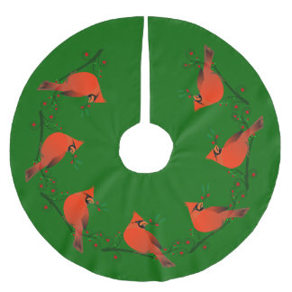 Country Cardinal on Branch with Berries Holiday Brushed Polyester Tree Skirt