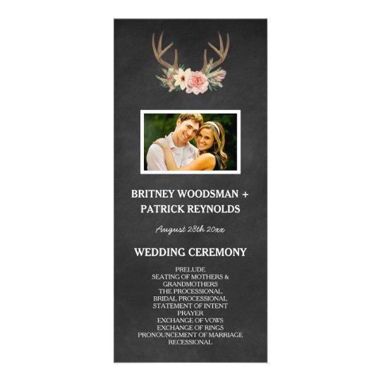 Country Chalkboard Deer Antler Wedding Programs Custom Rack