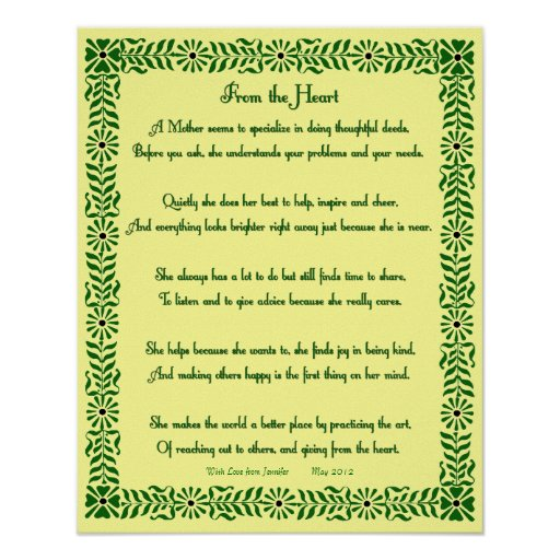 Country Charm Mother's Poem Personalized Print