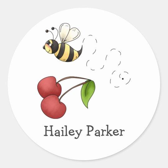 Country Cherries · Bee & Cherries Classic Round Sticker