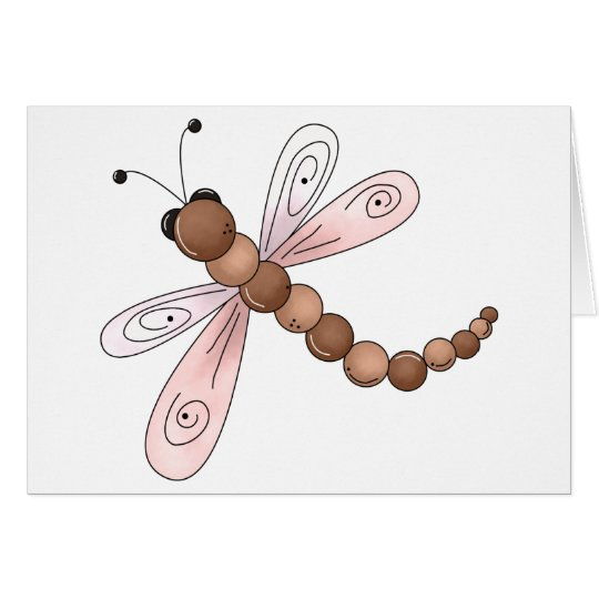 Country Cherries · Brown & Pink Dragonfly Card