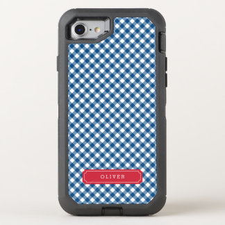 Country Chic Blue Gingham OtterBox Defender iPhone 8/7 Case