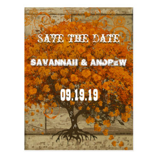 Country Chic Coral Tree Old Wood Save the Date Post Card