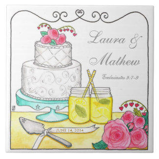 Country Chic Customizable Wedding Tile