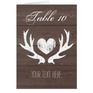 Country chic deer antler wedding table place cards note card