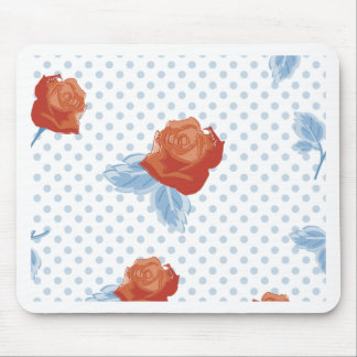 country chic,orange red,pale blue, polka dot,roses mouse pad