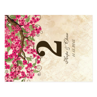 Country Chic Pink Cherry Blossom Table Number Card Postcard