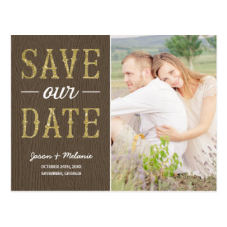 Country Chic Typography Photo Save the Date Postcard