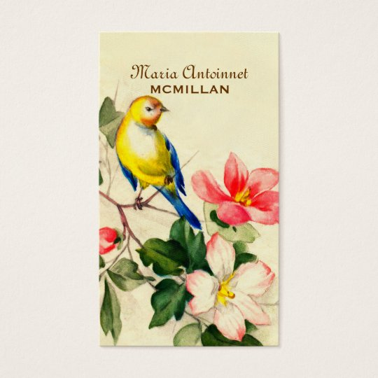 Country Chic Vintage Bird & Flowers Business Card