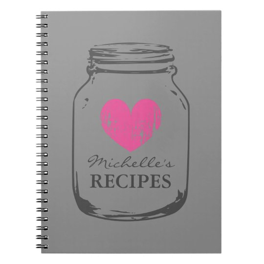 Country chic vintage mason jar recipe notebook