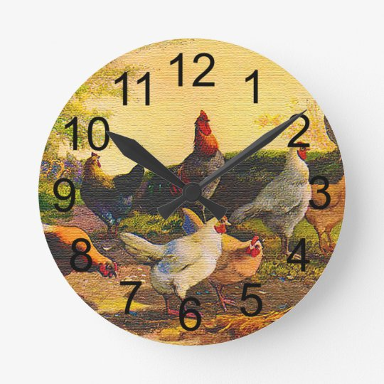 Country Chicken Family Wall Clock