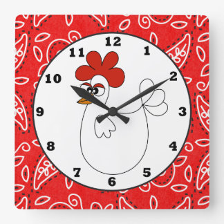 Country Chicken Paisley wall clock