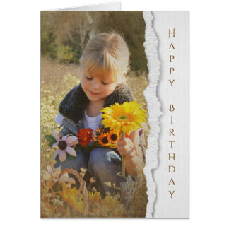 country child with sunflower bouquet greeting card
