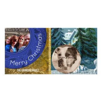 Country Christmas 2 Photo Blue Snow Scene Card