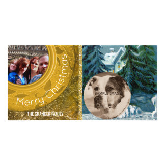 Country Christmas 2 Photo Gold Blue Snow Scene Photo Card Template