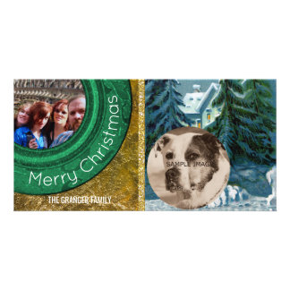 Country Christmas 2 Photo Snow Scene Card